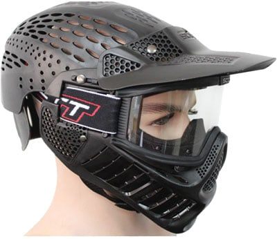 Full head paintball mask protects the top and back of the players head